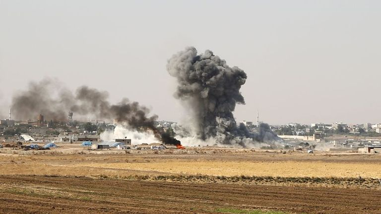 Turkey and its Kurdish rebel allies bombed the Syrian border town of Ras al Ain on Saturday