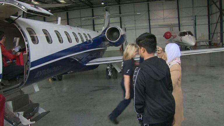 Tafida Raqeeb, 5,boarding a chartered plane from Biggin Hill airport this afternoon.