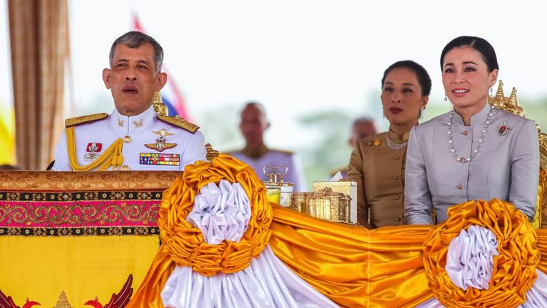 King Rama X married Queen Suthida (r) in May 2019