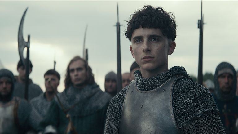 Timothee Chalamet plays historical figure Henry V in The Netflix film The King