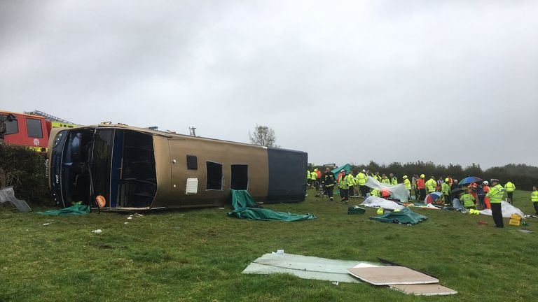 A double decker has  overturned on the A385 in south Devon. Pic Sgt Olly Tayler, Devon & Cornwall Police