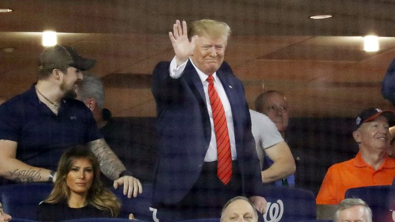 President Donald Trump attends Game Five of the 2019 World Series between the Houston Astros and the Washington Nationals at Nationals Park on October 27, 2019 in Washington, DC