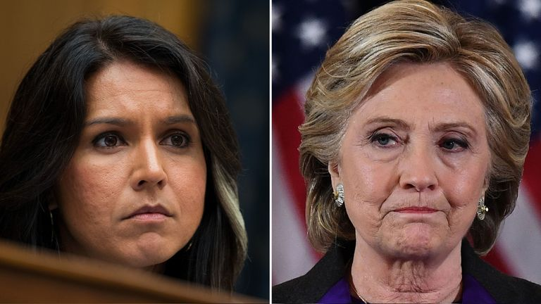 Tulsi Gabbard and Hillary Clinton