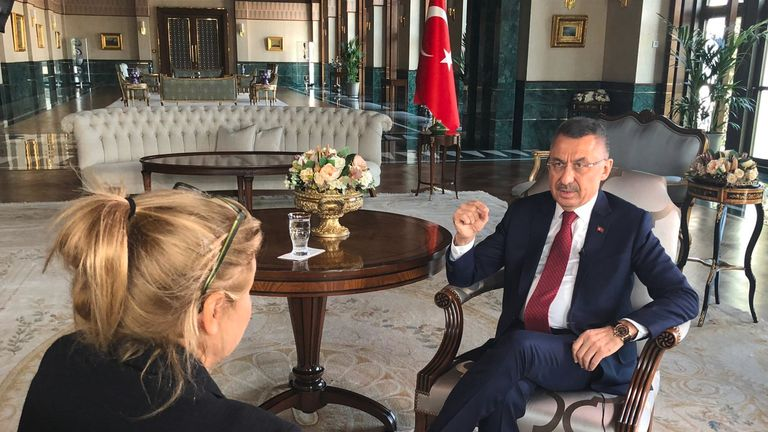 Alex Crawford interviews the Turkish vice president Fuat Oktay