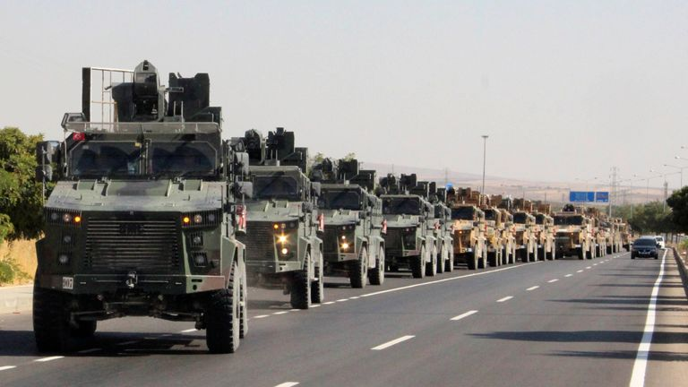 A Turkish miltary convoy in Kilis near the Turkish-Syrian border