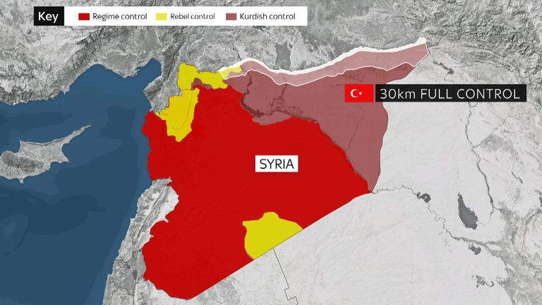 This is a map of Syria and how it's currently controlled.