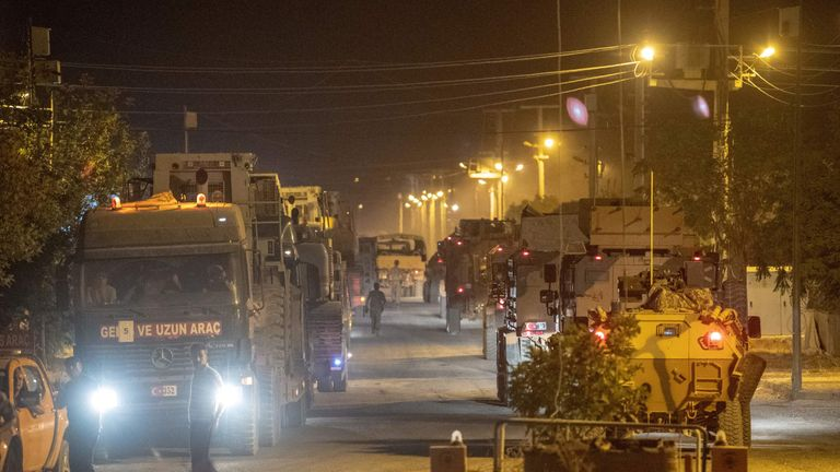 Streams of Turkish army vehicles arrived at the border on Tuesday