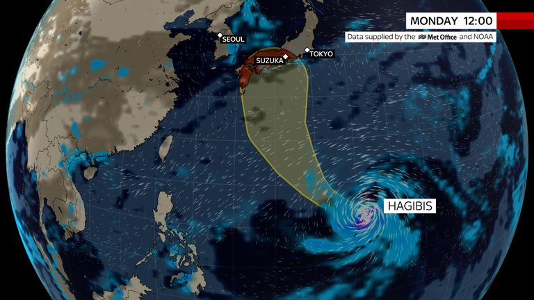Typhoon Hagibis is due to make land in Japan this weekend