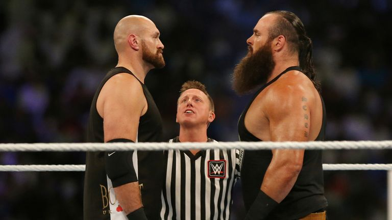 Fury matched his opponent for height but was much lighter than Strowman