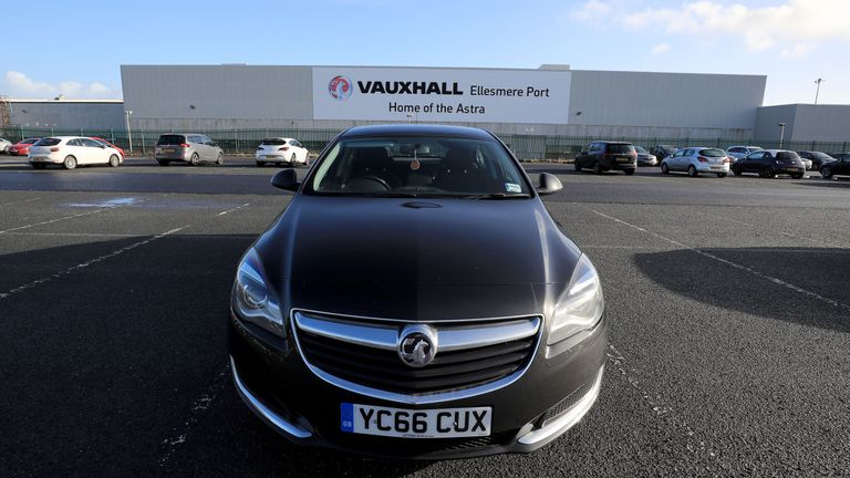 A Vauxhall Astra car parked outside of the Vauxhall plant in Ellesmere Port, Cheshire
