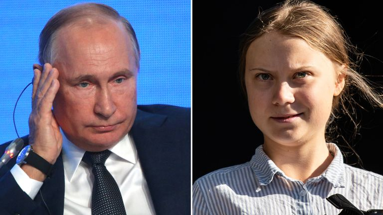 Vladimir Putin and Greta Thunberg