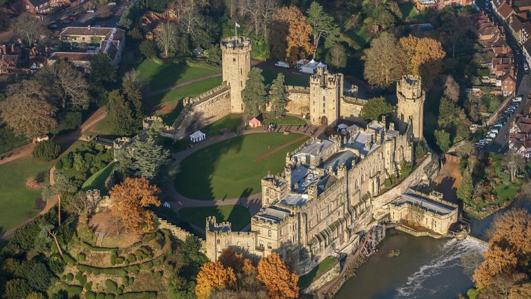 Aerial Photograph of Warwick Castle, this medieval fortification is located 10 miles south-west of  Coventry