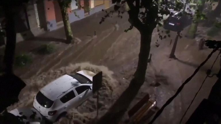 Storms and heavy rain lashed through southern France and Spain, including Ibiza