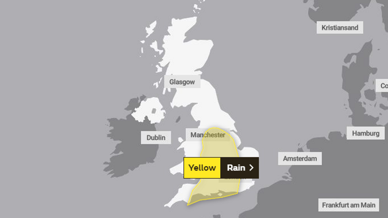 The rain will affect places including Manchester, Bath and Portsmouth. Pic: Met Office