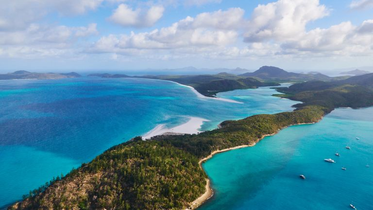 Aerial view of the Whitsunday Islands in the pacific ocean on November 20, 2015 in Whitsunday Islands, Australia