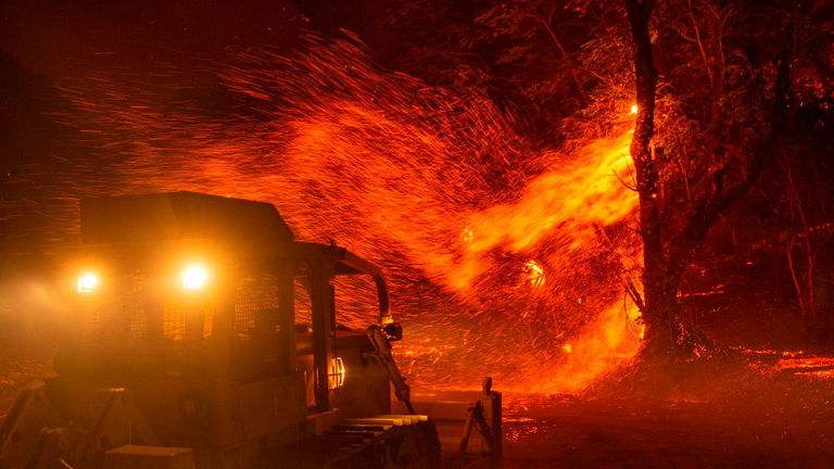 Embers fly off a tree as a bulldozer prepares to help fight the fire near Geyserville