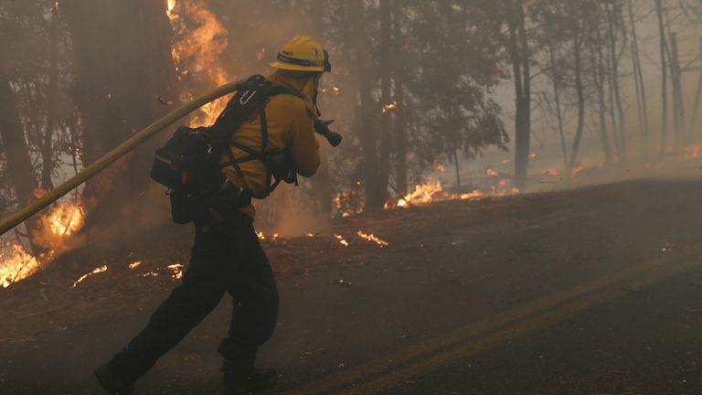 A firefighter pulls a hose along Chalk Hill Road as he battles the Kincade fire in Windsor, California