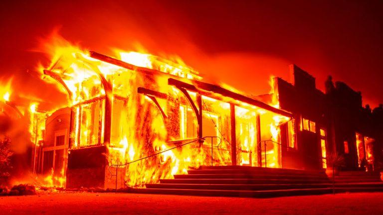 The Soda Rock Winery burns as flames race through Healdsburg, California