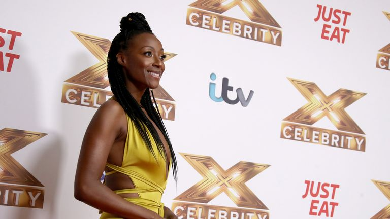 "Victoria Ekanoye attends ""The X Factor: Celebrity"" launch photocall at The Mayfair Hotel on October 09, 2019 in London"