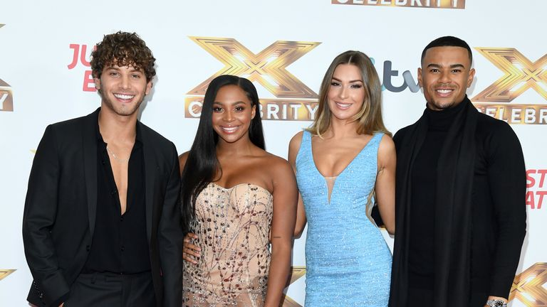 "Eyal Booker, Samira Mighty, Zara McDermott and Wes Nelson attend ""The X Factor: Celebrity"" launch photocall at The Mayfair Hotel on October 09, 2019 in London"