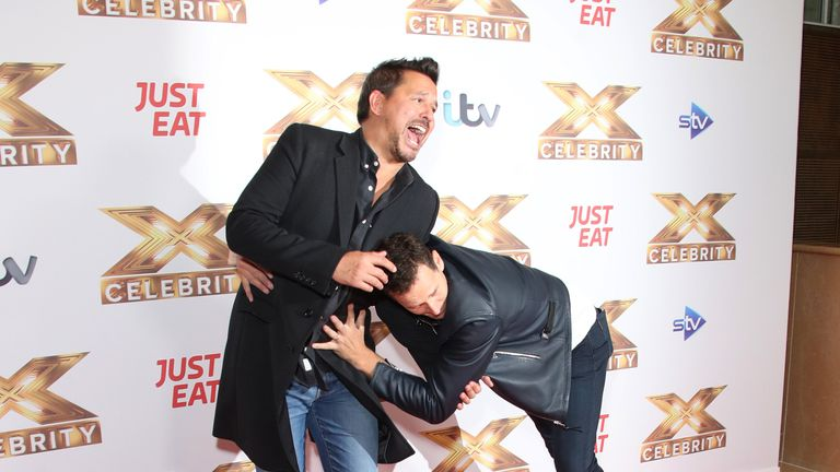 "Brendan Cole and Jeremy Edwards attend ""The X Factor: Celebrity"" launch photocall at The Mayfair Hotel on October 09, 2019 in London"