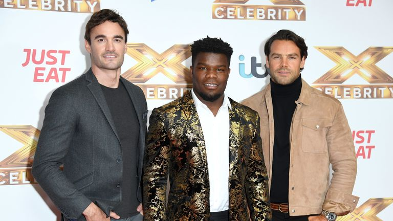 "Thom Evans, Levi Davis and Ben Foden of Try Star attend ""The X Factor: Celebrity"" launch photocall at The Mayfair Hotel on October 09, 2019 in London"