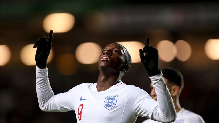 Eddie Nketiah celebrates his goal against Austria U21s