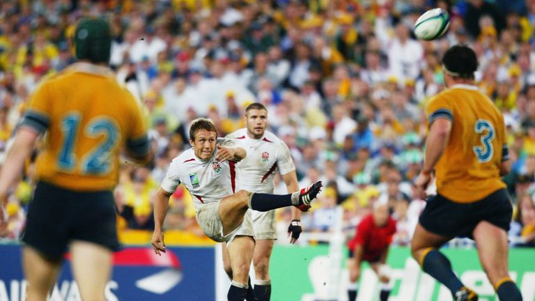 Jonny Wilkinson kicks the winning drop goal to give England victory in extra time during the Rugby World Cup Final between Australia and England in 2003