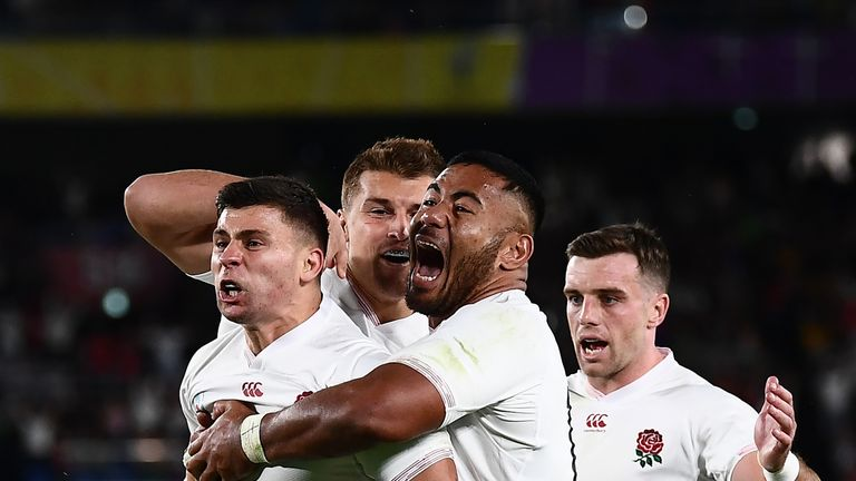 (From L to R) England's scrum-half Ben Youngs celebrates with England's centre Henry Slade, England's centre Manu Tuilagi and England's fly-half George Ford for a try which was later disallowed during the Japan 2019 Rugby World Cup semi-final match between England and New Zealand at the International Stadium Yokohama in Yokohama on October 26, 2019. (Photo by CHARLY TRIBALLEAU / AFP) (Photo by CHARLY TRIBALLEAU/AFP via Getty Images)