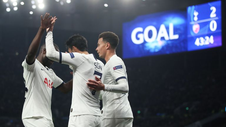 Heung-Min Son celebrates his second goal against Red Star Belgrade