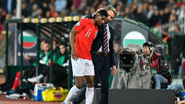 Marcus Rashford and Gareth Southgate
