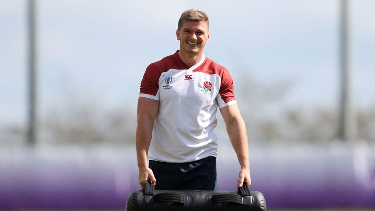 England's Owen Farrell during the training session at Beppu City Jissoji Multipurpose Ground, Oita
