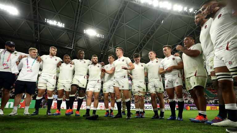 Owen Farrell speaks to his team-mates after England's win over Australia
