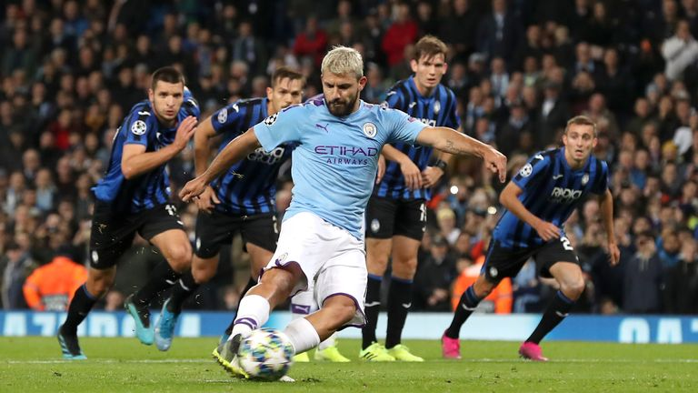 Sergio Aguero scores a penalty to put Manchester City 2-1 up against Atalanta