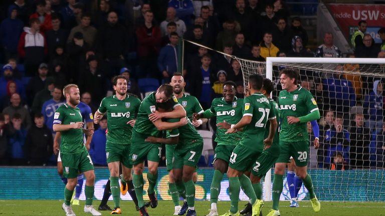 Sheffield Wednesday celebrate Julian Borner's goal against Cardiff City