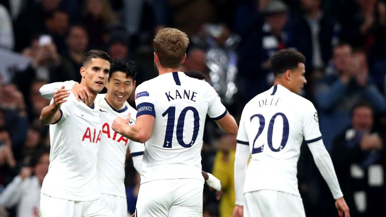 Heung-Min Son celebrates after putting Tottenham 2-0 up vs Red Star Belgrade