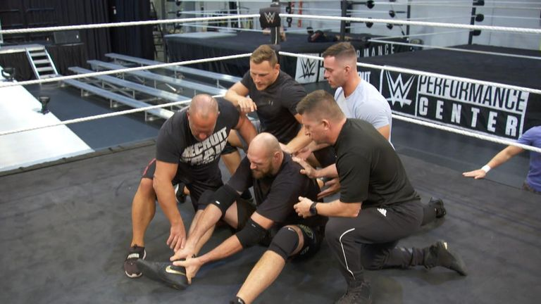 Braun Strowman Gets Physical with Tyson Fury at the WWE Performance Center