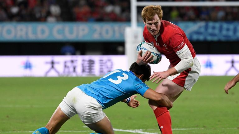 Rhys Patchell attacking for Wales against Uruguay