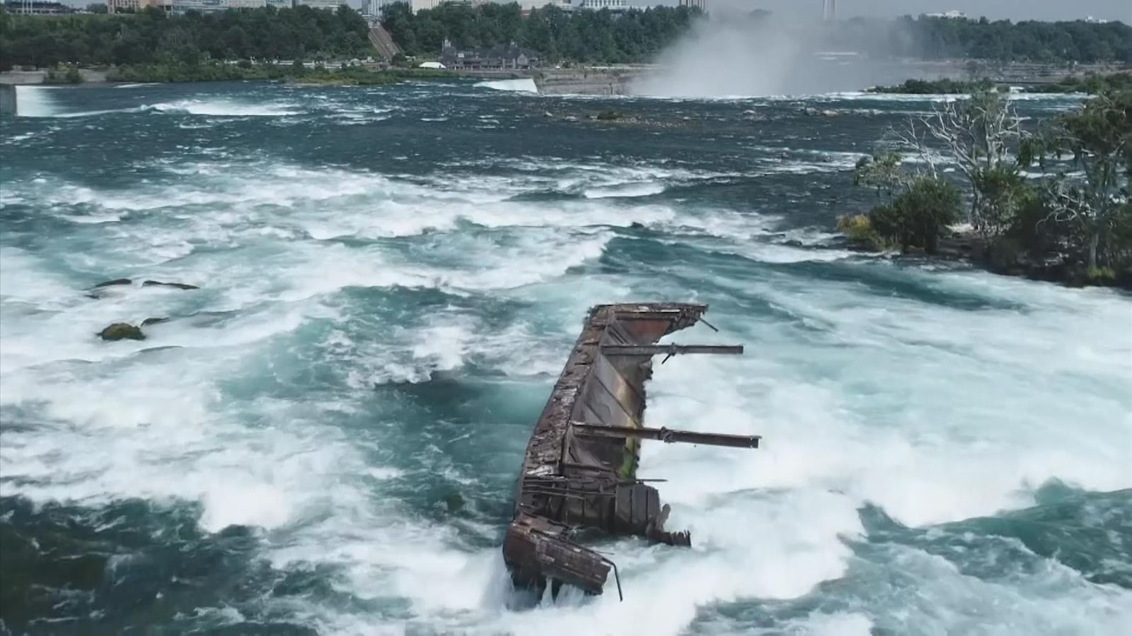 Niagara Falls: Barge stuck in rapids for 100 years finally moved by storm