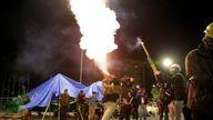 Fireworks were set off to celebrate after Bolivian Senator Jeanine Anez became interim president