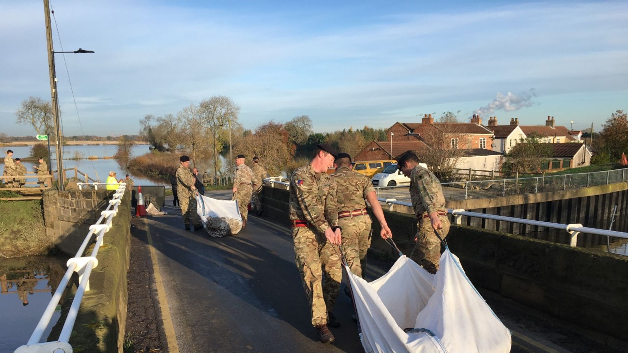 UK flooding: Army arrives in South Yorkshire as 35 warnings in place