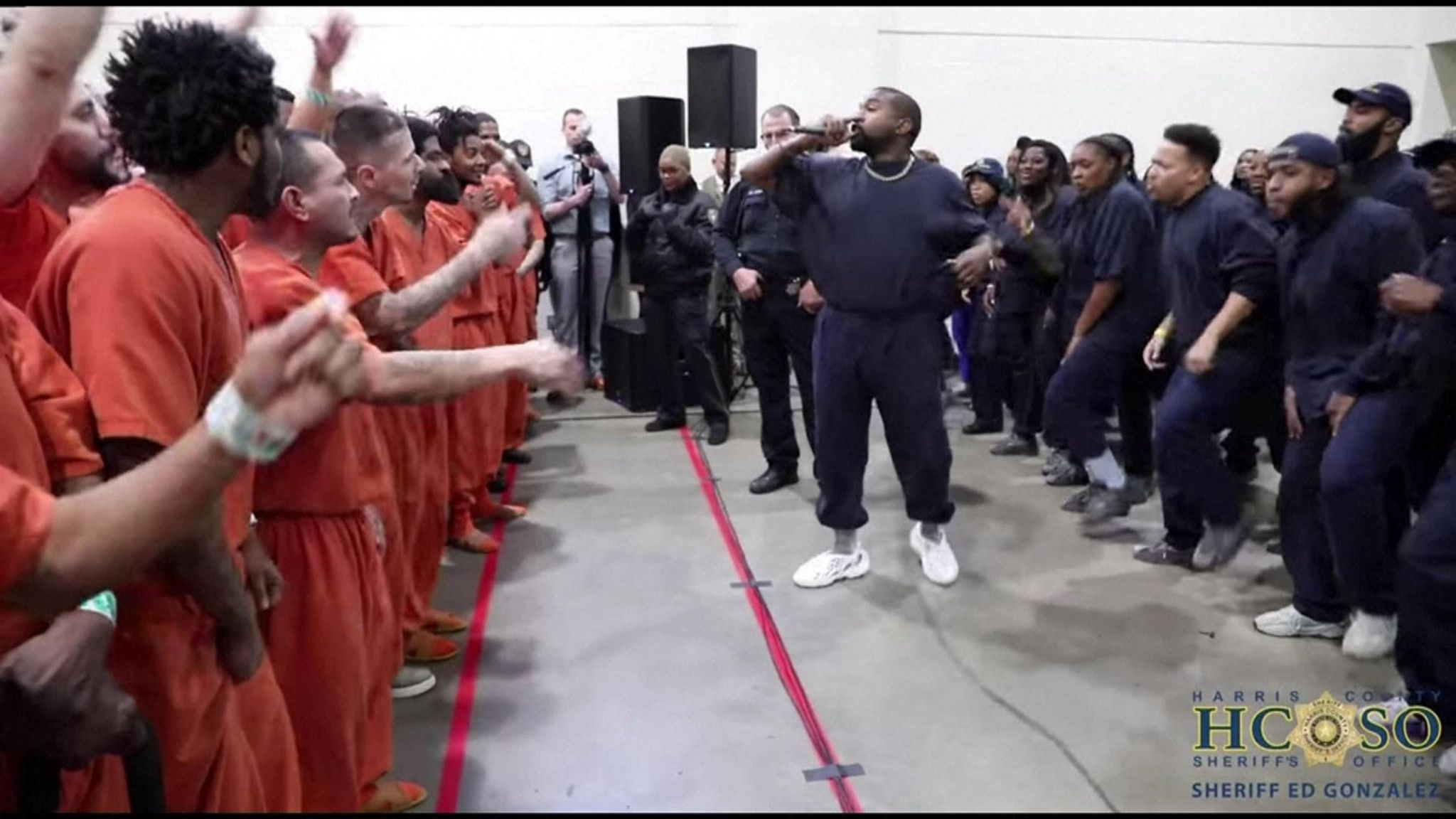 Kanye West performs songs from Jesus Is King for tearful prison inmates