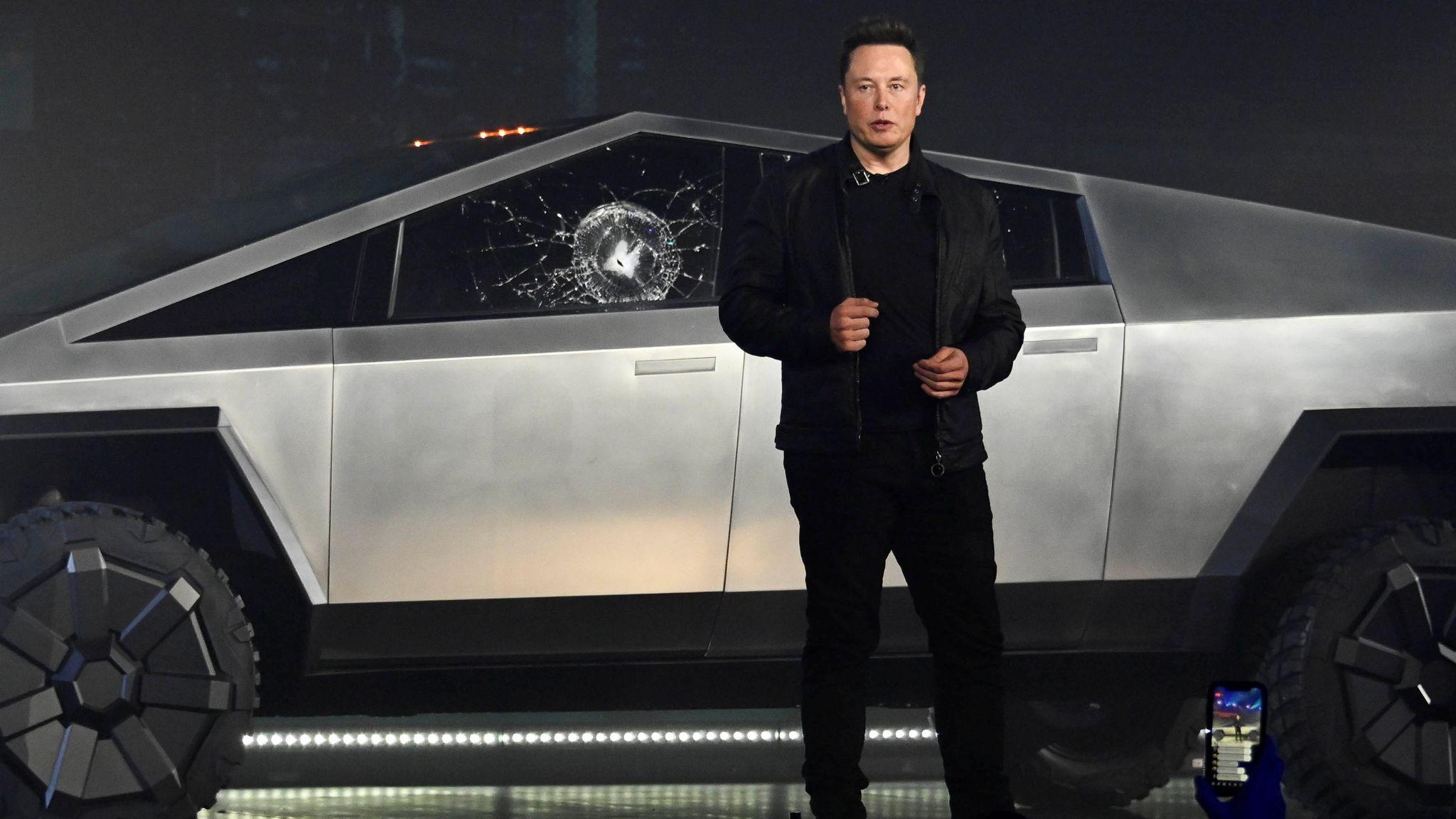 Elon Musk Tesla Boss Reveals Why Windows Of Cybertruck Smashed Business News Sky News