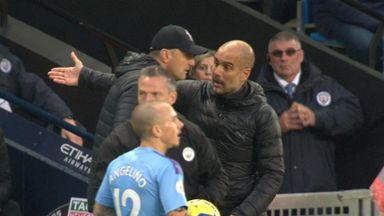 Agitated Pep plays ball boy