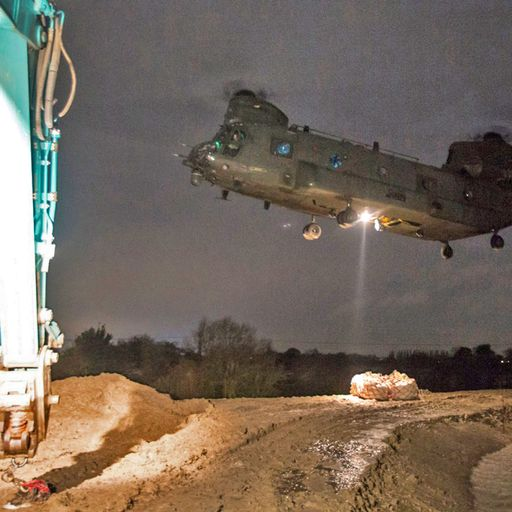 RAF helicopter and army engineers strengthen flood defences in South Yorkshire