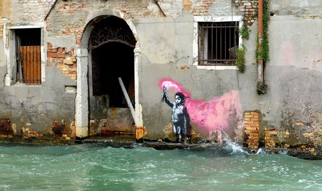 Venice floods: Banksy artwork underwater after tides reach highest level in 50 years