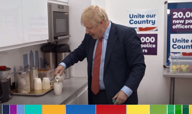 General election: Outrage as Boris Johnson makes cuppa - and adds milk with bag still in mug