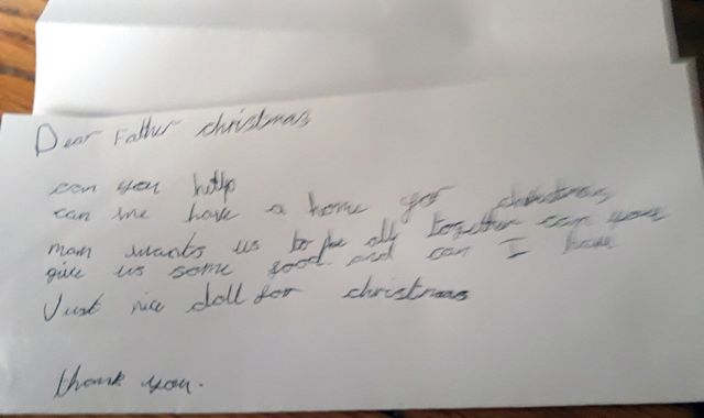 Child asks Santa for food and a home in heartbreaking Christmas letter