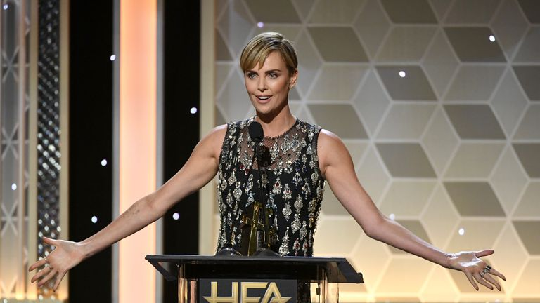 BEVERLY HILLS, CALIFORNIA - NOVEMBER 03: Charlize Theron accepts the Hollywood Career Achievement Award onstage during the 23rd Annual Hollywood Film Awards at The Beverly Hilton Hotel on November 03, 2019 in Beverly Hills, California. (Photo by Kevin Winter/Getty Images for HFA)
