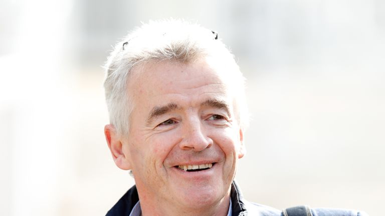 LIVERPOOL, UNITED KINGDOM - APRIL 06: (EMBARGOED FOR PUBLICATION IN UK NEWSPAPERS UNTIL 24 HOURS AFTER CREATE DATE AND TIME) Michael O'Leary attends day 3 'Grand National Day' of The Randox Health Grand National Festival at Aintree Racecourse on April 6, 2019 in Liverpool, England. (Photo by Max Mumby/Indigo/Getty Images)